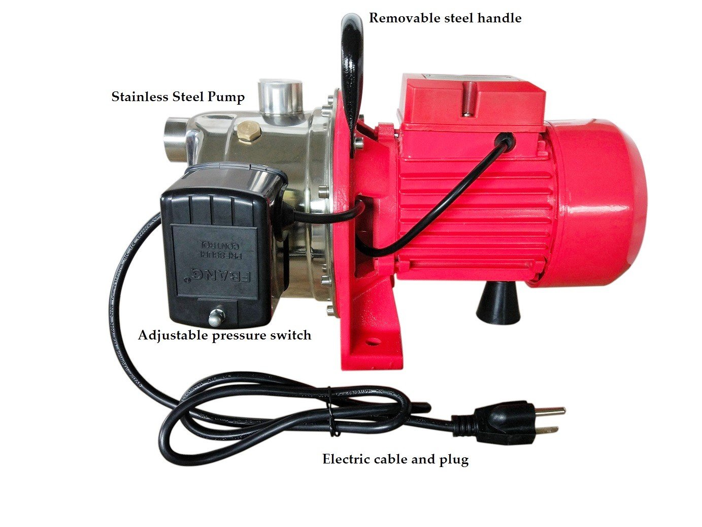 heavy duty Hallmark Industries Inc 115//230V stainless steel 3//4HP Max 14 GPM Self Priming with Pressure Switch Hallmark Industries MA0438X-8 Jet Pump