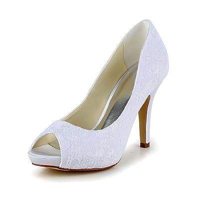 JIA JIA Zapatos de Novia de Las Mujeres 37053A Peep Toe Tacón de Aguja  Bombas de Plataforma Zapatillas Zapatos de Boda  Amazon.es  Zapatos y  complementos a5b33c07a9e
