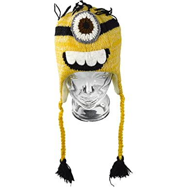 6ca101f2aed46 Hand Made Despicable Me Minion Style 100% Wool Fun Novelty Woollen Ski Hat  (One Size)  Amazon.co.uk  Clothing