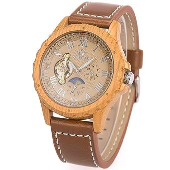 Reloj para hombre - Fase de sol la luna ManChDa Caso de madera del grano Reloj mecánico automático para los hombres Banda de cuero marrón + Caja de regalo: ...