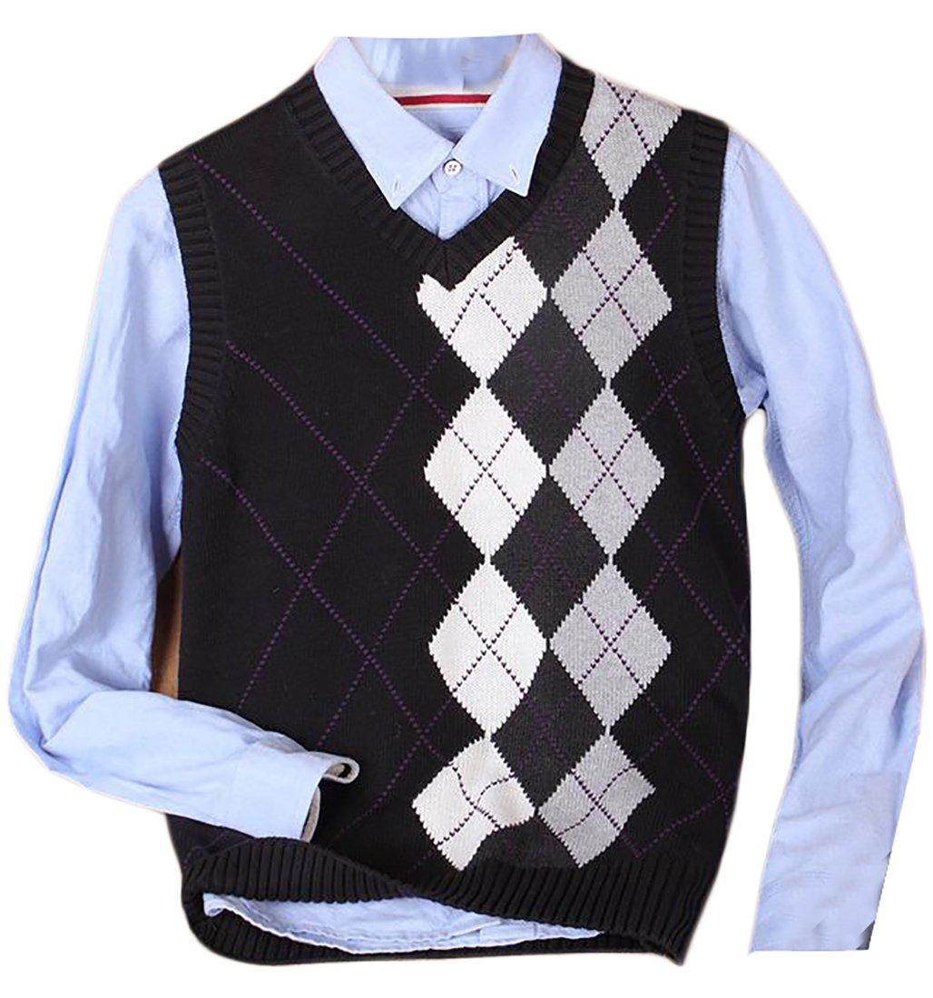 Pandapang Mens Classic Fit Sleeveless V Neck Plaid Pattern Knit Sweater Vest