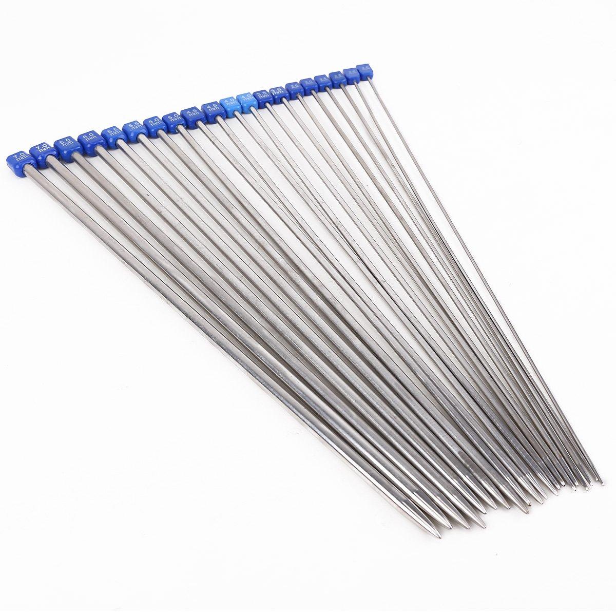 CLE DE TOUS@ Agujas de tejer de acero inoxidable 36cm de largo 10 size diferentes Surepromise