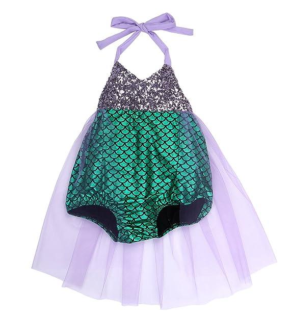 Amazon.com: Bebé Girls Kids Little Mermaid lentejuelas ...