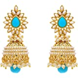 YouBella Jewellery Traditional Copper Bollywood Style Pearl Fancy Party wear earrings Jhumki / Jhumka Earrings for Girls and Women