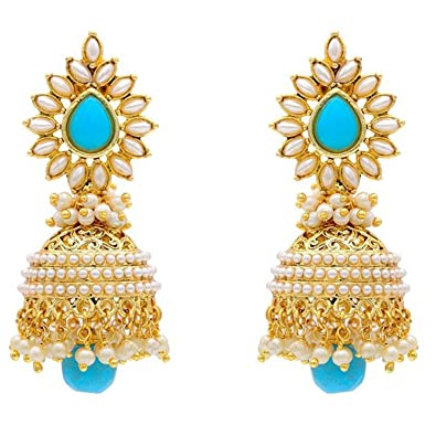 8a793bdf6e6e7 YouBella Stylish Latest Party Wear Traditional Jewellery Gold Plated and  Pearl Jhumki Earrings for Women (Blue) (YBEAR_30016)