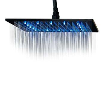 rozin led light 16inch rainfall shower head bathroom square top sprayer oil rubbed bronze