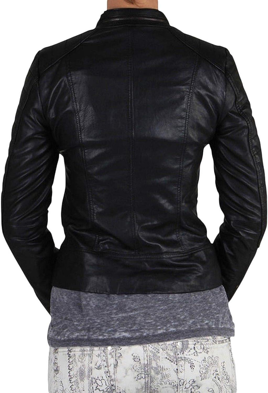 Pristine Leather Womens Lambskin Leather Motorcycle Rider Biker Bomber Black Jacket WJ-196