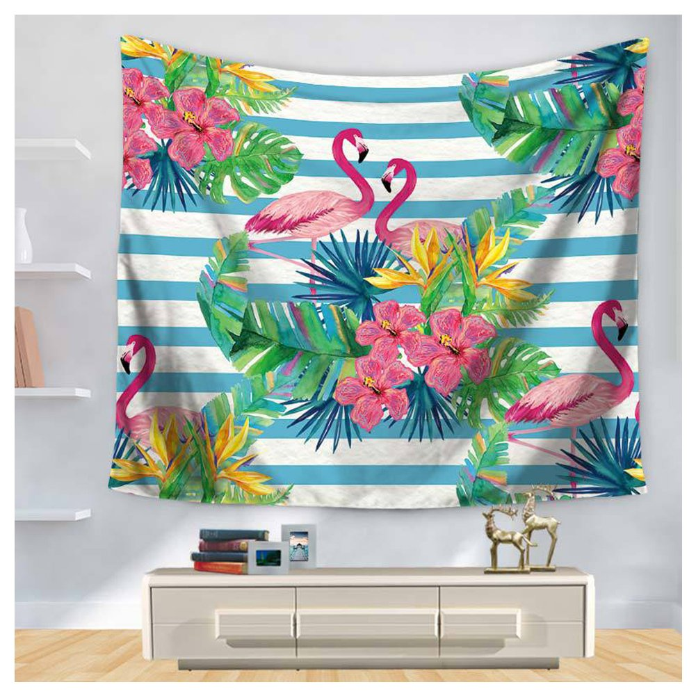 HONTOD Palm and Floral Flamingo Wall Tapestry Wall Art Tropical Beauty Home Decor Hanging Tapestry 59x78.7-inch