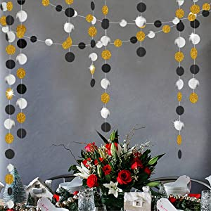 6 Pack 13 Ft Gold Glittery Silver Black Circle Dots Glitter Party Decorative Paper Circle Dots Hanging String for Engagement Wedding Anniversary New Year Graduation Birthday Party Decoration