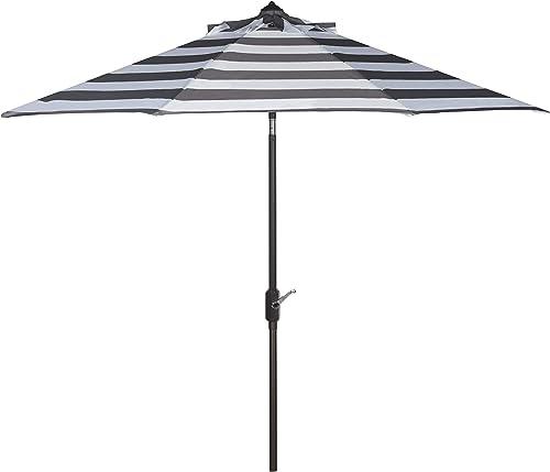 Safavieh PAT8004D Outdoor Collection Iris Fashion Line Auto Tilt Umbrella, 9 , Grey White