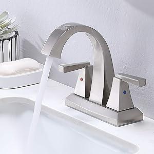 VESLA HOME Modern Solid Brass 2 Handles 2 Holes 4 Inch Centerset Brushed Nickel Bathroom Faucet,Lavatory Vanity Bathroom Sink Faucet with Water Supply Lines.