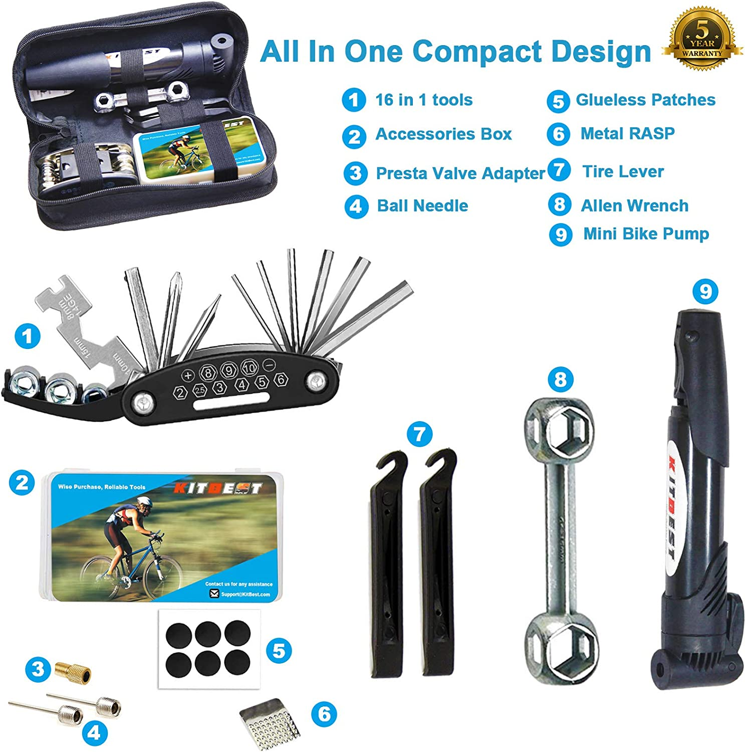2x Bike Repair Tools Kit Tire Lever Patch Glue Multi-Purpose Bycicle Tire Repair