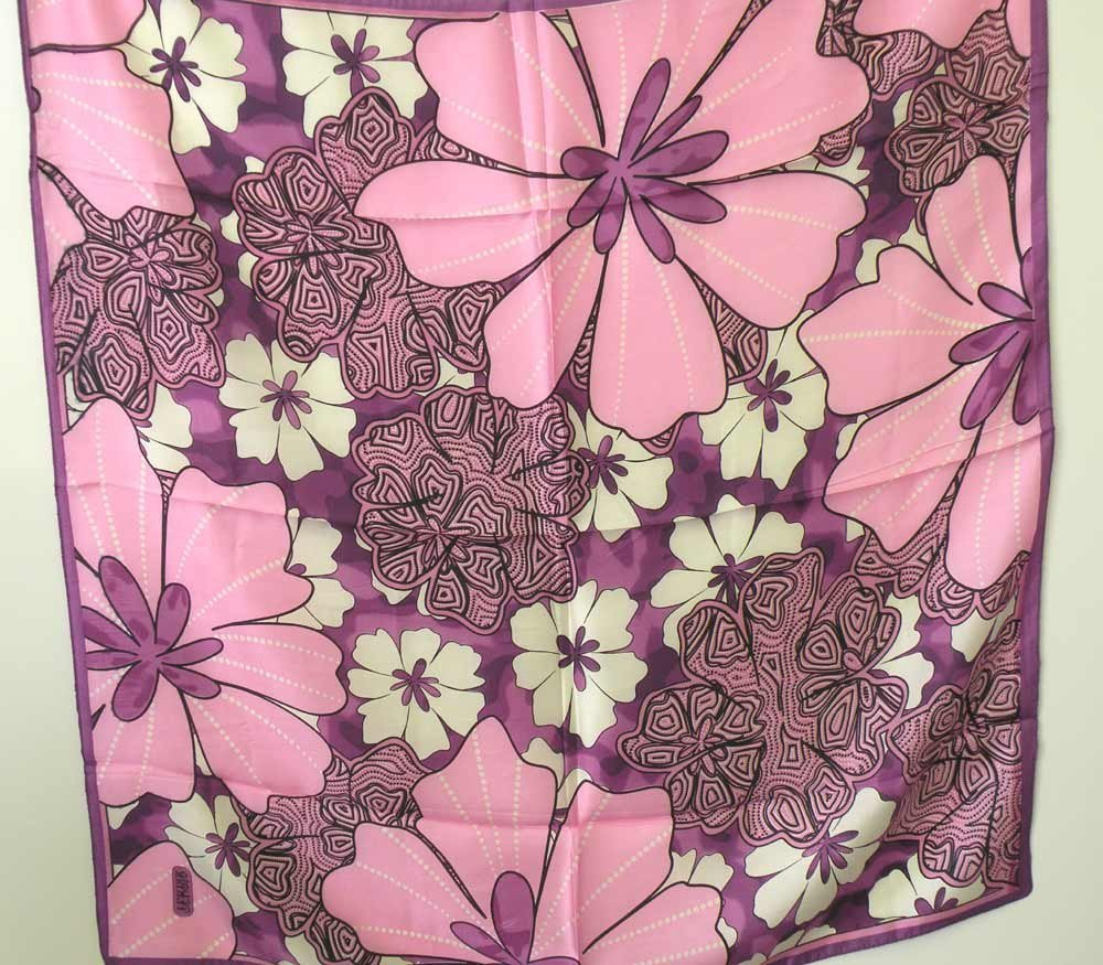 """100% Twill Silk Square Scarf With Machine-Hand Crafted Borders (34"""" X 34"""")"""