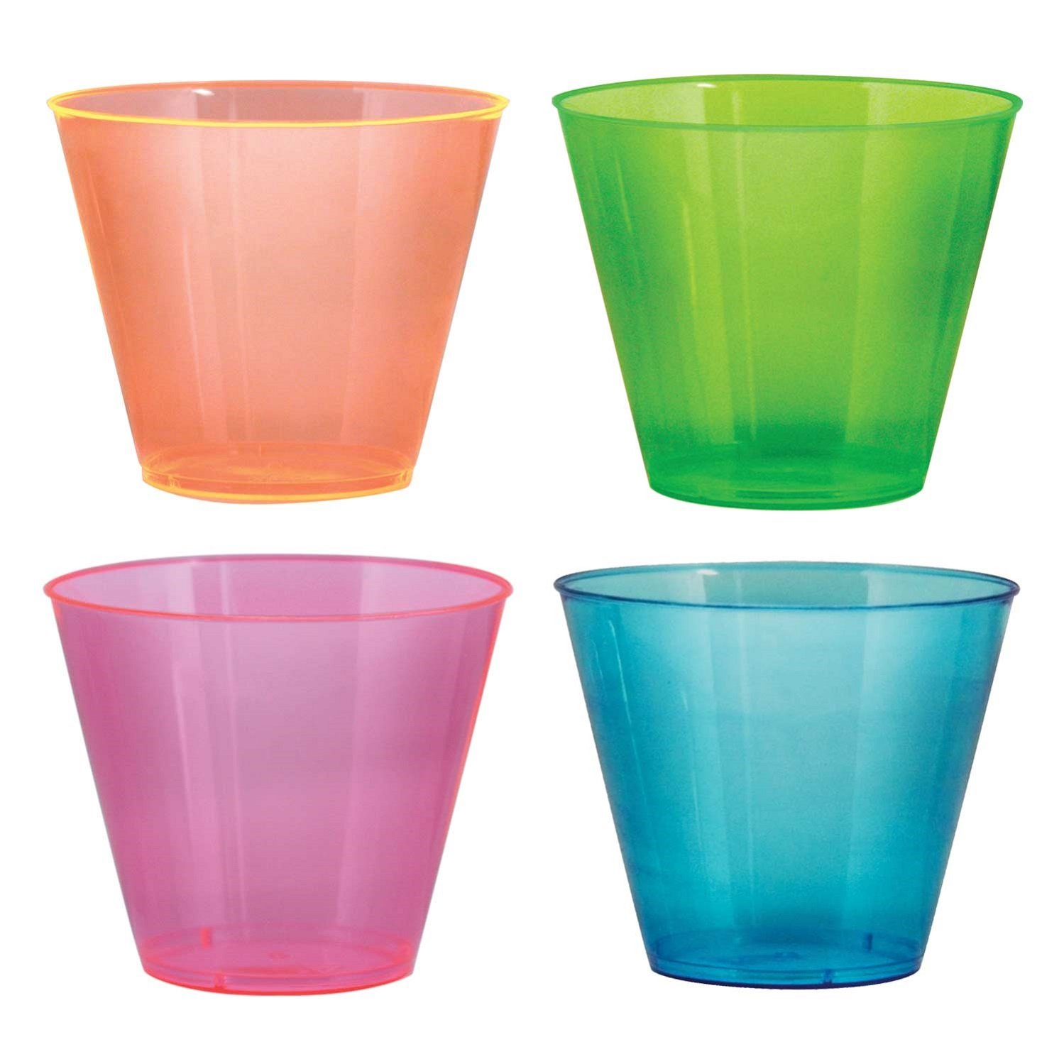 Party Essentials Hard Plastic 9-Ounce Party Cups/Old Fashioned Tumblers, 50-Count, Assorted Neon
