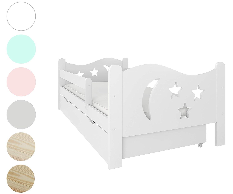 Wei/ß Montessori Kinderzimmer Funktionsbett M/ädchen und Junge Bett mit Matratze 70x140 80x160 Lattenrost und Schublade f/ür Kinder ab 2 jahren NeedSleep Rausfallschutz Kinderbett Komplett