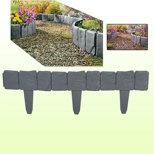 Bordillo para jardín de plástico, con aspecto de piedra de lago, de color gris oscuro, para clavar en el suelo, pack de 10 unidades: Amazon.es: Jardín