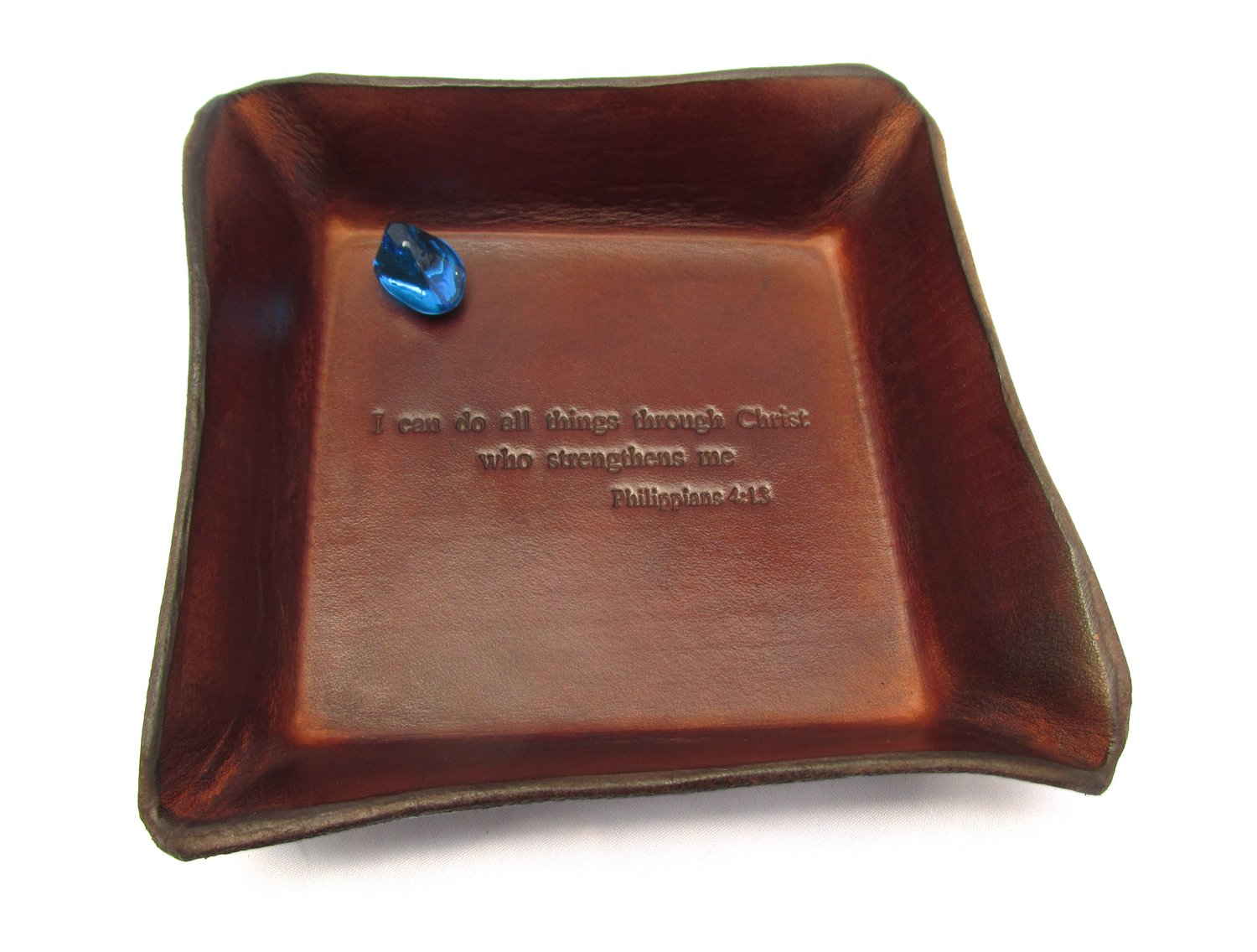 Twin Saints Christian Religious Gift. Philippians 4:13 Leather Tray. I Can Do All Things Through Christ Who Strengthens Me.