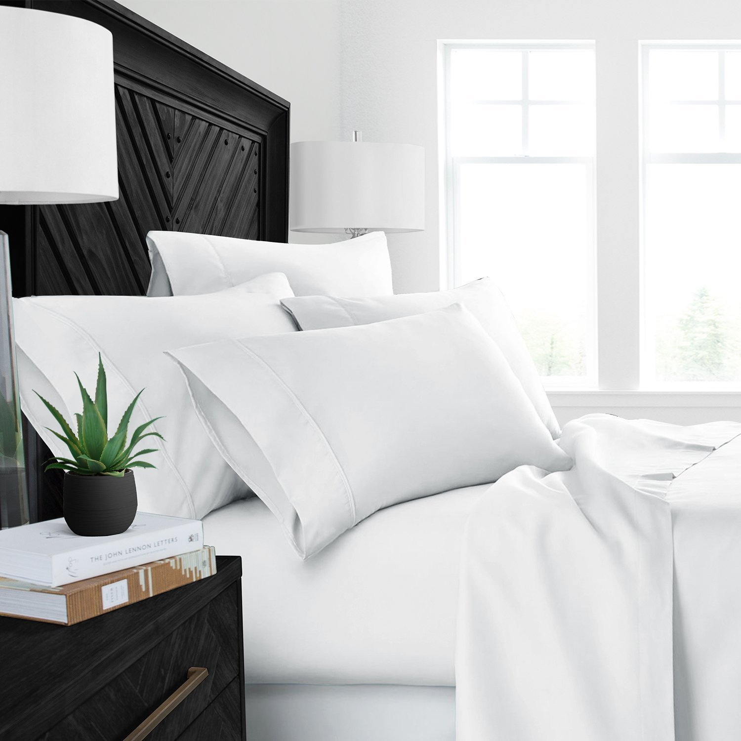 1000 Thread Count Luxury Soft 100% Cotton Sateen Bedding King Top Sheet, Cool and Hypoallergenic (King, White) by Thread Spread (Image #3)