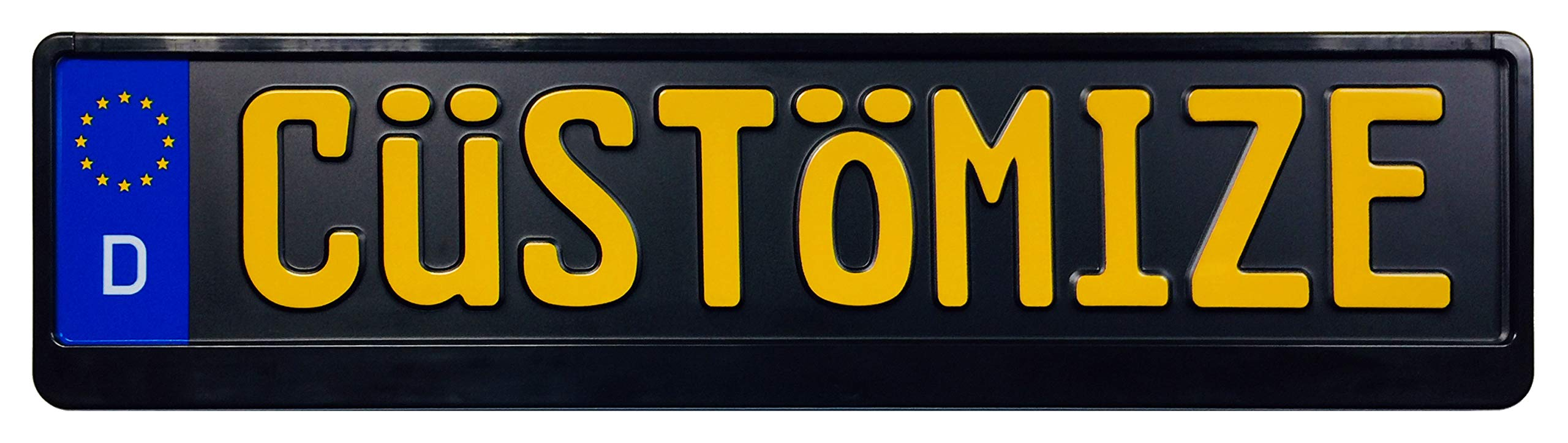 Custom Black German License Plate (Plate with Yellow Text + Frame)