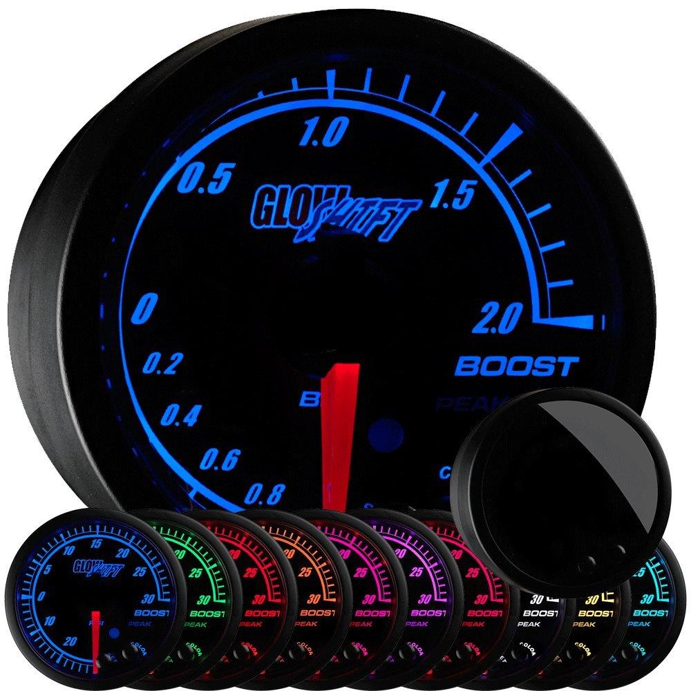 GlowShift Elite 10 Color 2.0 BAR Boost/Vacuum Gauge Kit - Includes Electronic Pressure Sensor - Black Dial - Tinted Lens - Peak Recall Function - For Car & Truck - 2-1/16' 52mm GlowShift Gauges GS-ET01-BAR