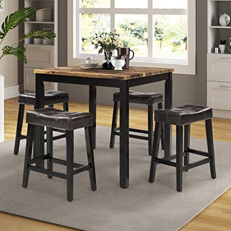 Beige Breakfast Nook Rockjame 5 Piece Counter Height Dining Table Set With 4 Chairs For The Bar Kitchen Room Pub Table Set Dining Room And Living Room Talkingbread Co Il