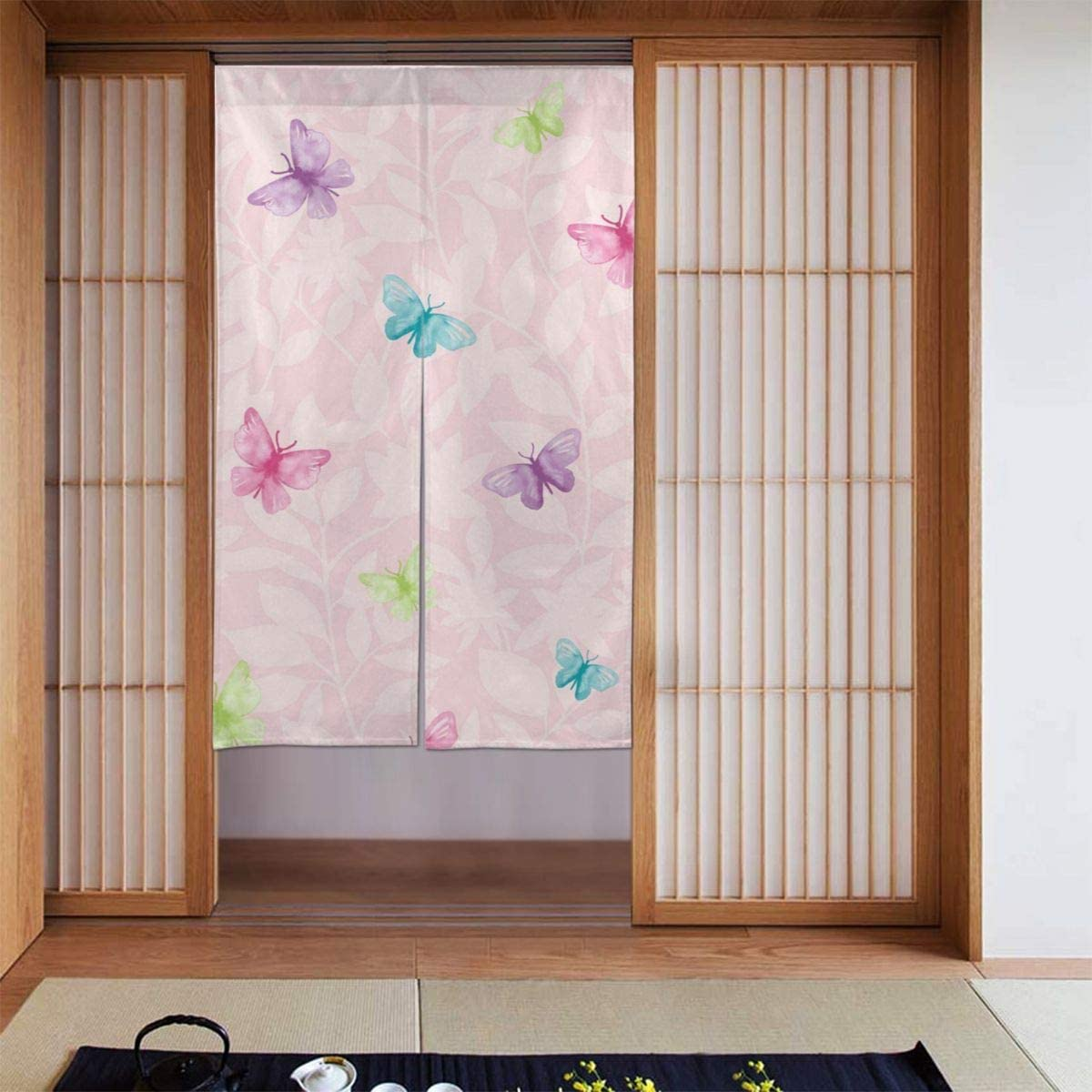 SLHFPX Noren Doorway Curtain Butterfly Floral Japanese Noren Doorway Curtain Long Tapestry Door Curtains Decor Dividers for Home Kitchen Bedroom Bathroom Living Room Office