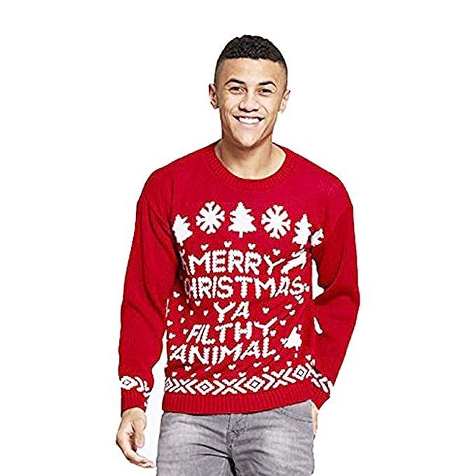ecb5c8f591de3d MINNI ROSSA ® Womens Mens Novelty Merry Christmas YA Filthy Animal Jumper  Printed Pullover Sweater Xmas: Amazon.co.uk: Clothing