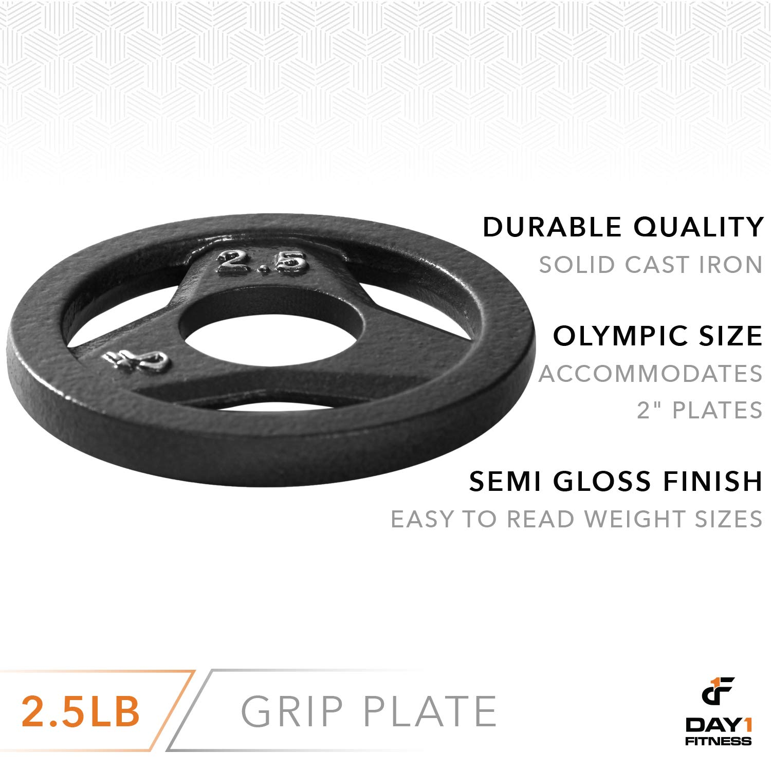 """Day 1 Fitness Cast Iron Olympic 2-Inch Grip Plate for Barbell, 2.5 Pound Single Plate Iron Grip Plates for Weightlifting, Crossfit - 2"""" Weight Plate for Bodybuilding by Day 1 Fitness (Image #3)"""