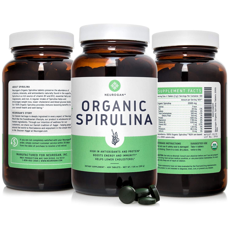 Neurogan Organic Spirulina Tablets USDA Certified, 500mg Tablets, 3-Pack – Raw, Natural & Pure Vegan...