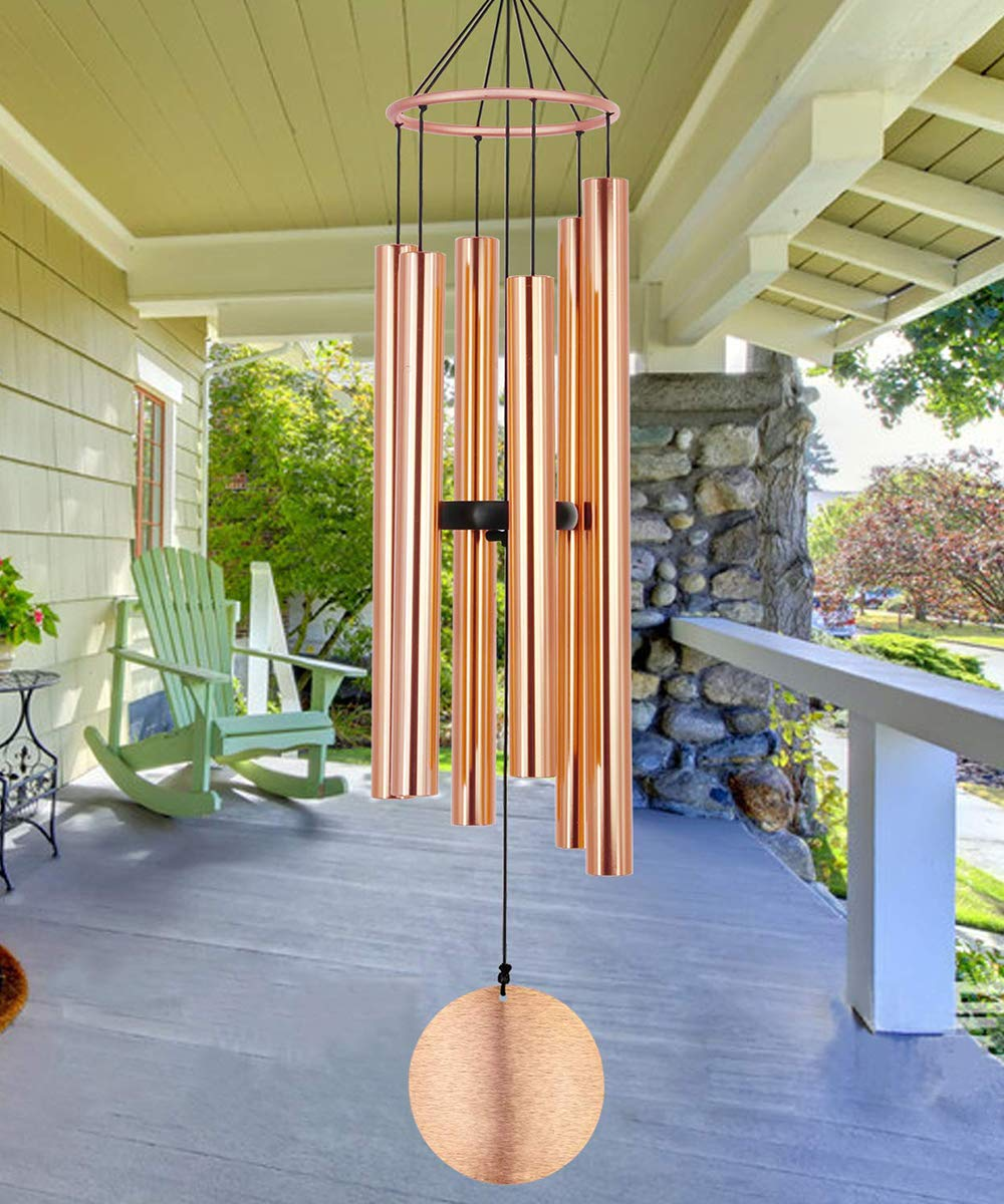 Memorial Wind Chimes Outdoor Large Deep Tone, 36 Inch Sympathy Wind Chimes Amazing Grace Tuned Soothing Melody as Gift, Outdoor Decoration for Your Garden,Patio, Porch, Yard, Home, Deck, Rose Gold
