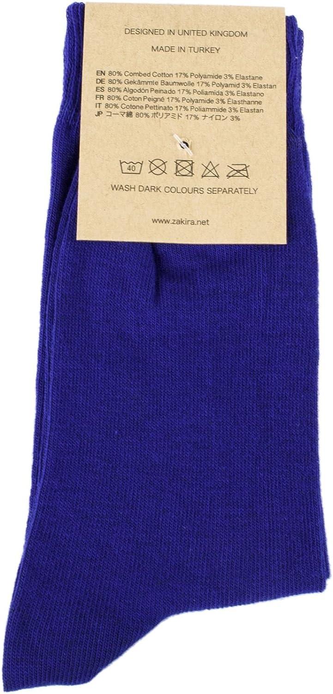 ZAKIRA Calzini Eleganti in Finissimo Cotone Pettinato dai Colori Vivaci per Uomo e Donna Confezione da 5