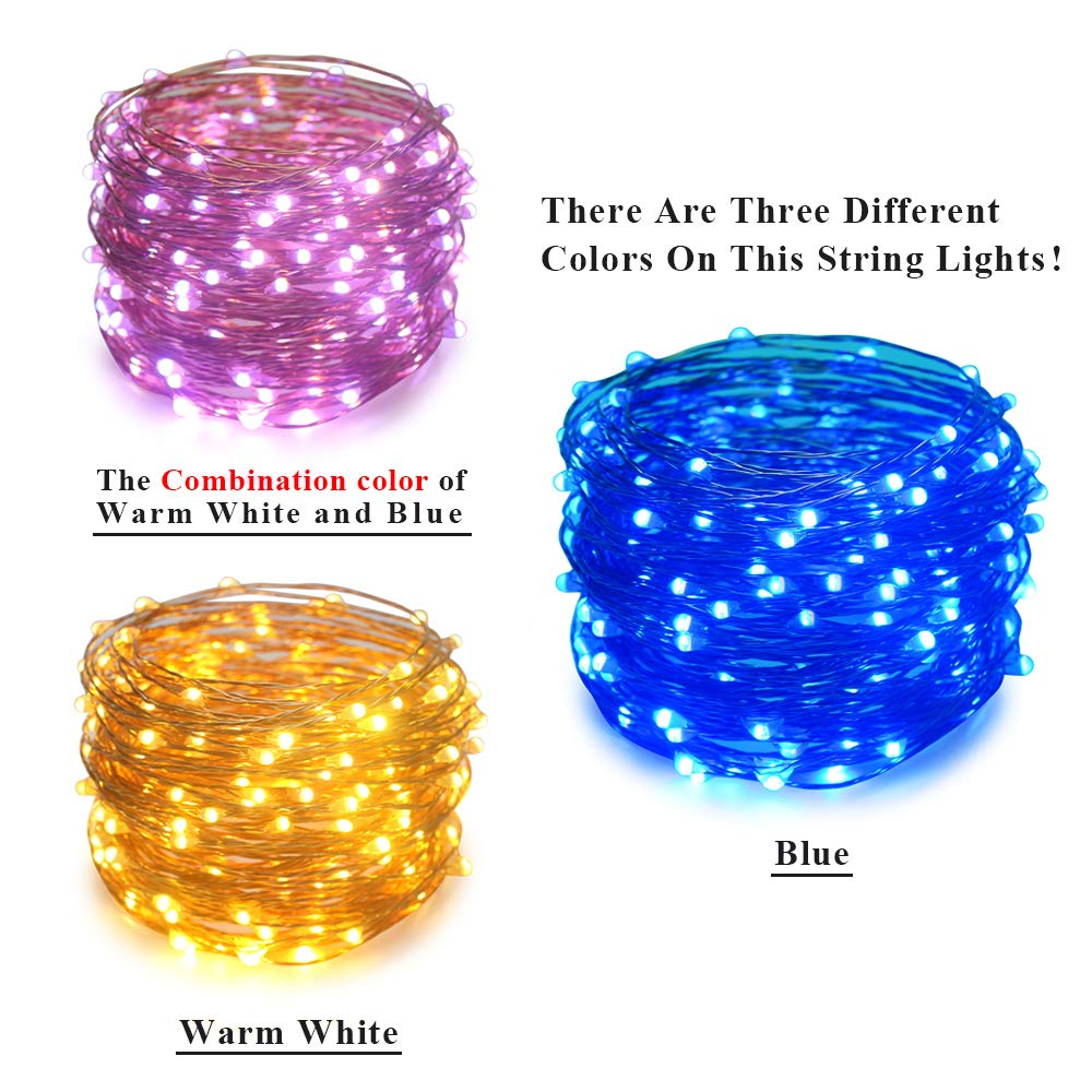 ErChen Dual-Color Solar Powered Warm White, Green Backup Battery Power LED String Lights 66FT 200 LEDs Remote Control Color Changing 8 Modes Copper Wire Fairy Lights for Outdoor Garden