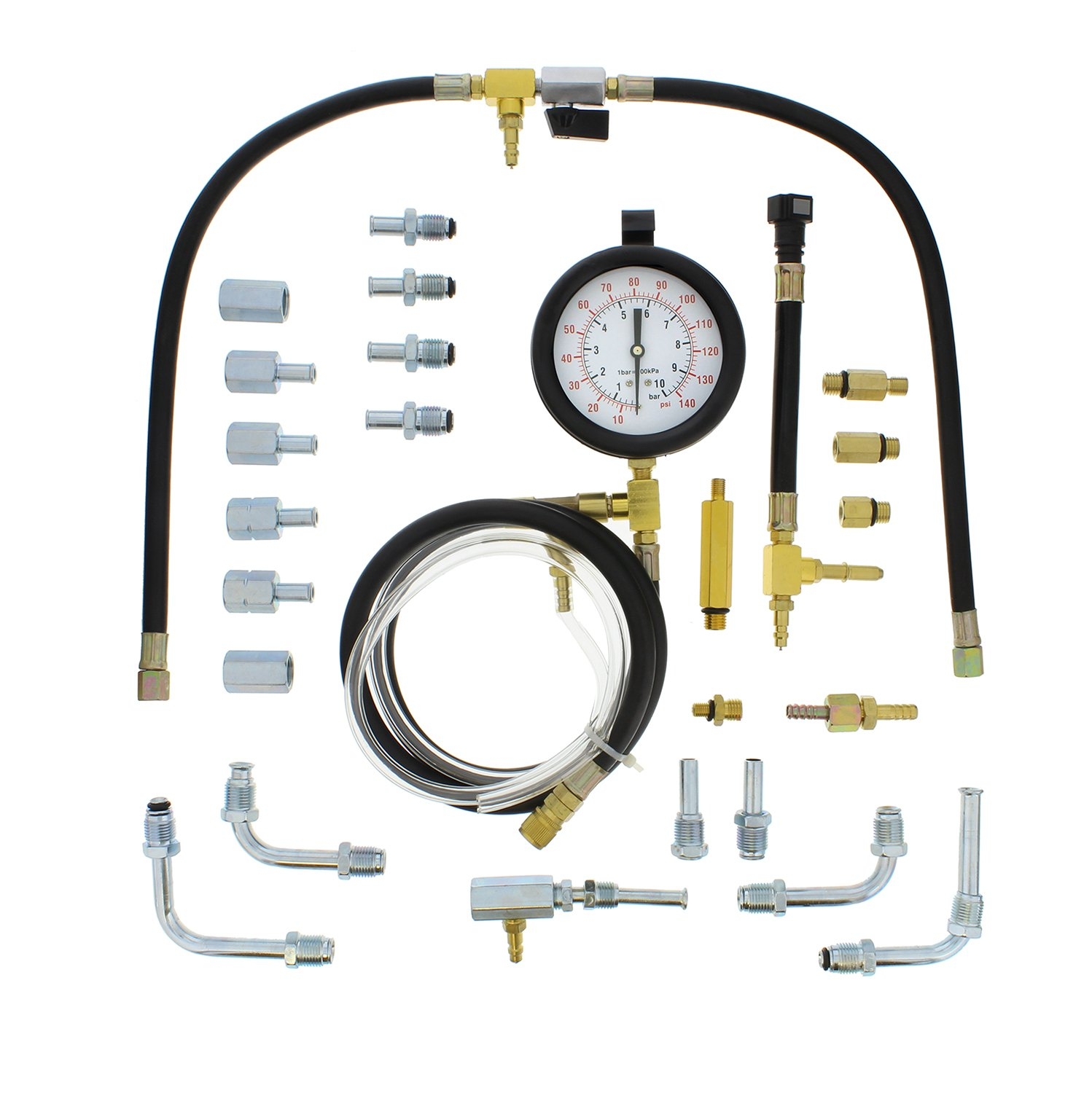 Hose Tubing Universal Injector Set of Dual PSI//Bar Gauge ABN Master Fuel Injection Pressure Test Kit Fittings