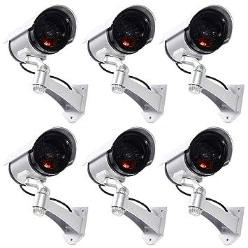6 Cámaras de vigilancia postizas de exterior Luz LED parpadeante infrarrojos