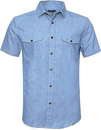 SOOPO Camisa de Trabajo de algodón de Manga Corta para Hombres, Varios Colores y tamaños: Amazon.es: Ropa y accesorios
