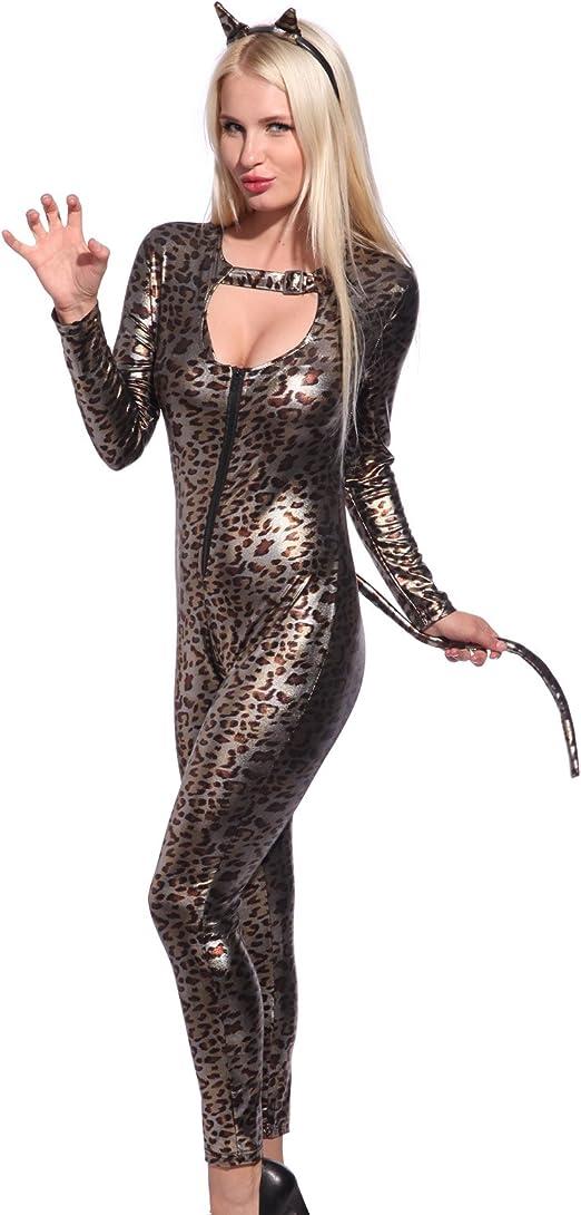 Maboobie - Disfraz de gatita Catwoman Body Vinilo para Mujer Mono ...