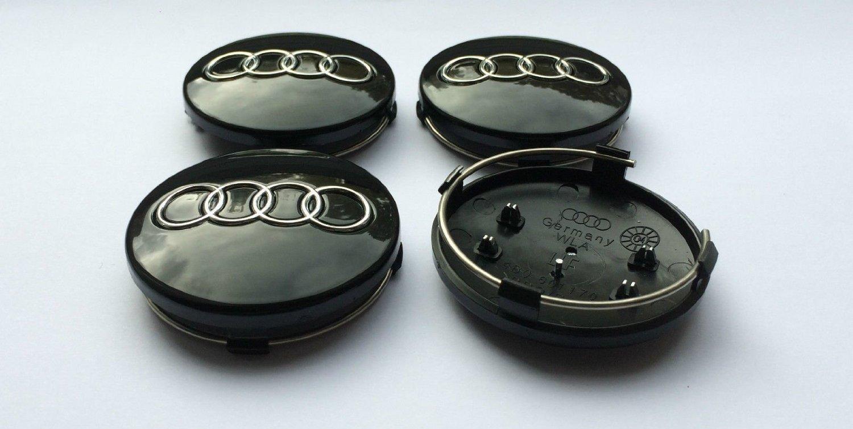 Set of 4 BLACK 60mm Alloy Wheel Centre Caps OEM AO
