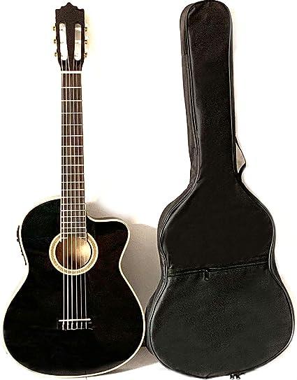 Guitarra clásica Musoo con cuerpo delgado EQ de 4 marcas con bolsa ...