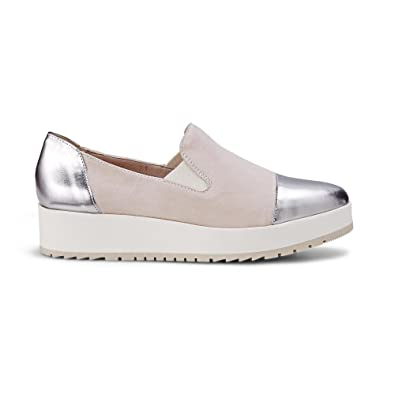 Damen Plateau-Slip-on Beige Leder 40 Drievholt