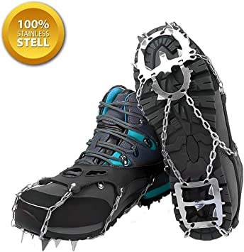 Stainless Crampons Teeth Anti Slip Shoe Grips Ice Cleats Spike Snow Gripper