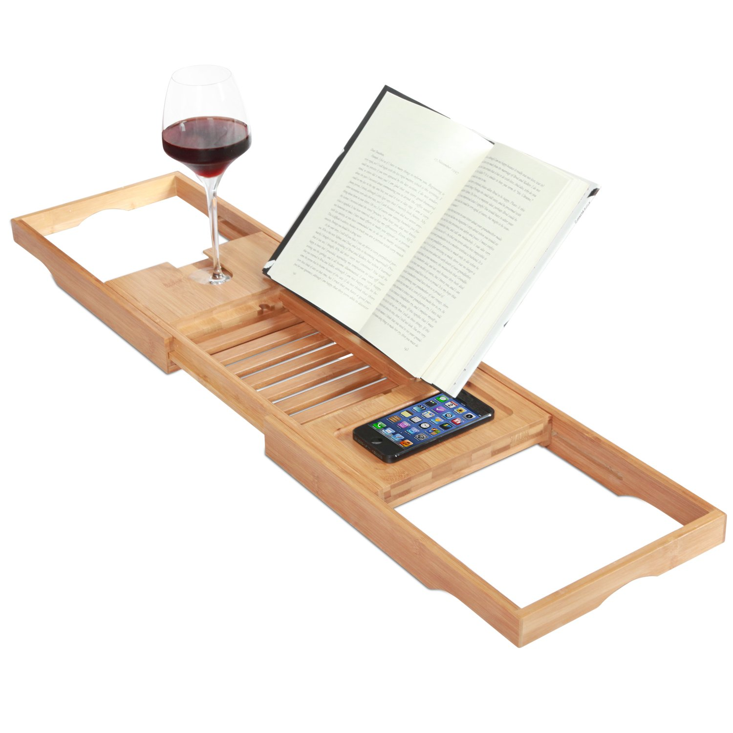 Uncategorized Bathtub Book Rack amazon com toilettree products bamboo bathtub caddy with extending sides and adjustable book holder 4 ounce beauty