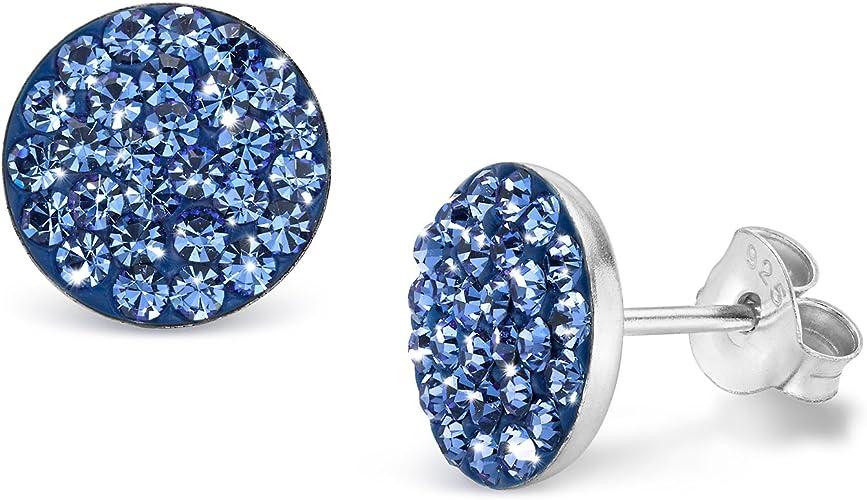 Ohrringe XL Ohrstecker L 85 mm Chandelier Strass Kristall Klar//Blau