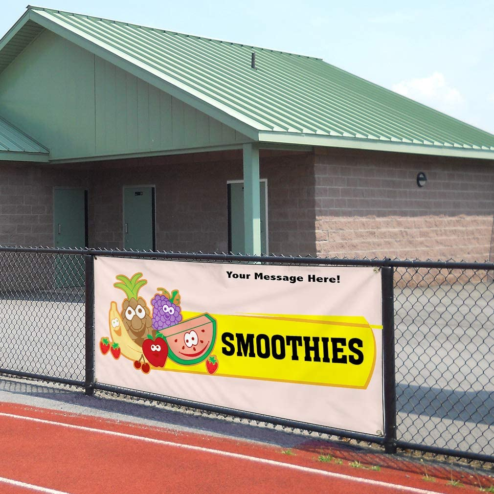 Custom Industrial Vinyl Banner Multiple Sizes Smoothies Style C Personalized Text Here Funny and Novelty Outdoor Weatherproof Yard Signs Yellow 10 Grommets 60x120Inches