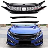 MotorFansClub Front Bumper Grill Fit For Compatible With Honda Civic 2016 2017 2018 10th GEN Type R Style ABS Plastic…