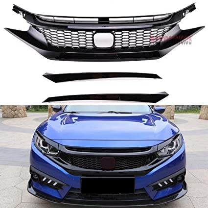 motorfansclub front bumper grill type r style abs plastic mesh grille fits  10th gen honda civic 2016 2017 2018: amazon ca: automotive