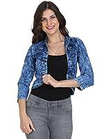 BuyNewTrend Blue 3/4th Sleeve Denim Shrug/Jacket For Women