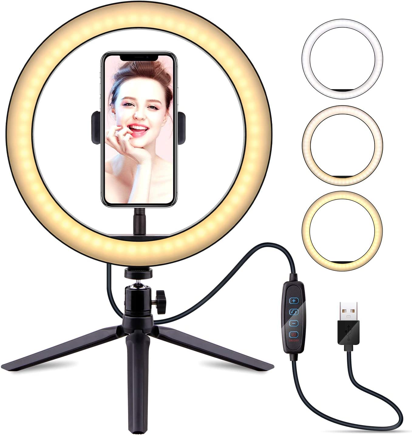 10 Selfie Ring Light with Tripod Stand LATZZ Dimmable Desktop LED Lamp Camera Ringlight for Live Stream//Makeup//YouTube Video//Photography