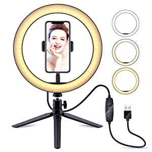 "10"" Selfie Ring Light with Tripod Stand & Cell Phone Holder, LATZZ Dimmable Desktop LED Lamp Camera Ringlight for Live Stream/Makeup/YouTube Video/Photography"