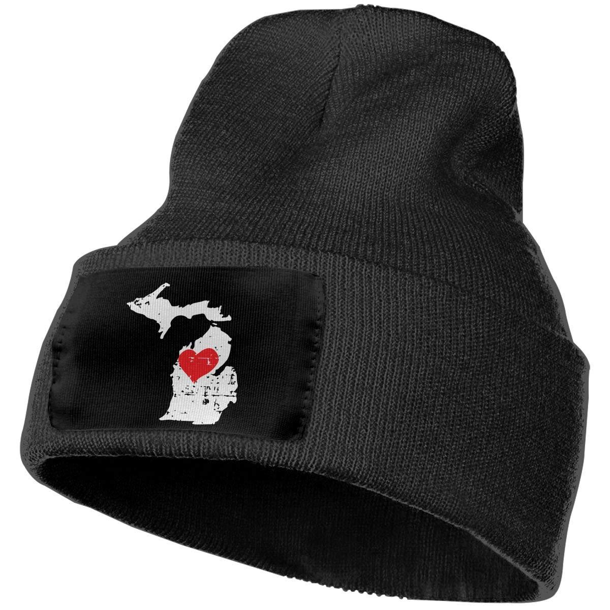 COLLJL-8 Men//Women Michigan State Map Outdoor Stretch Knit Beanies Hat Soft Winter Skull Caps