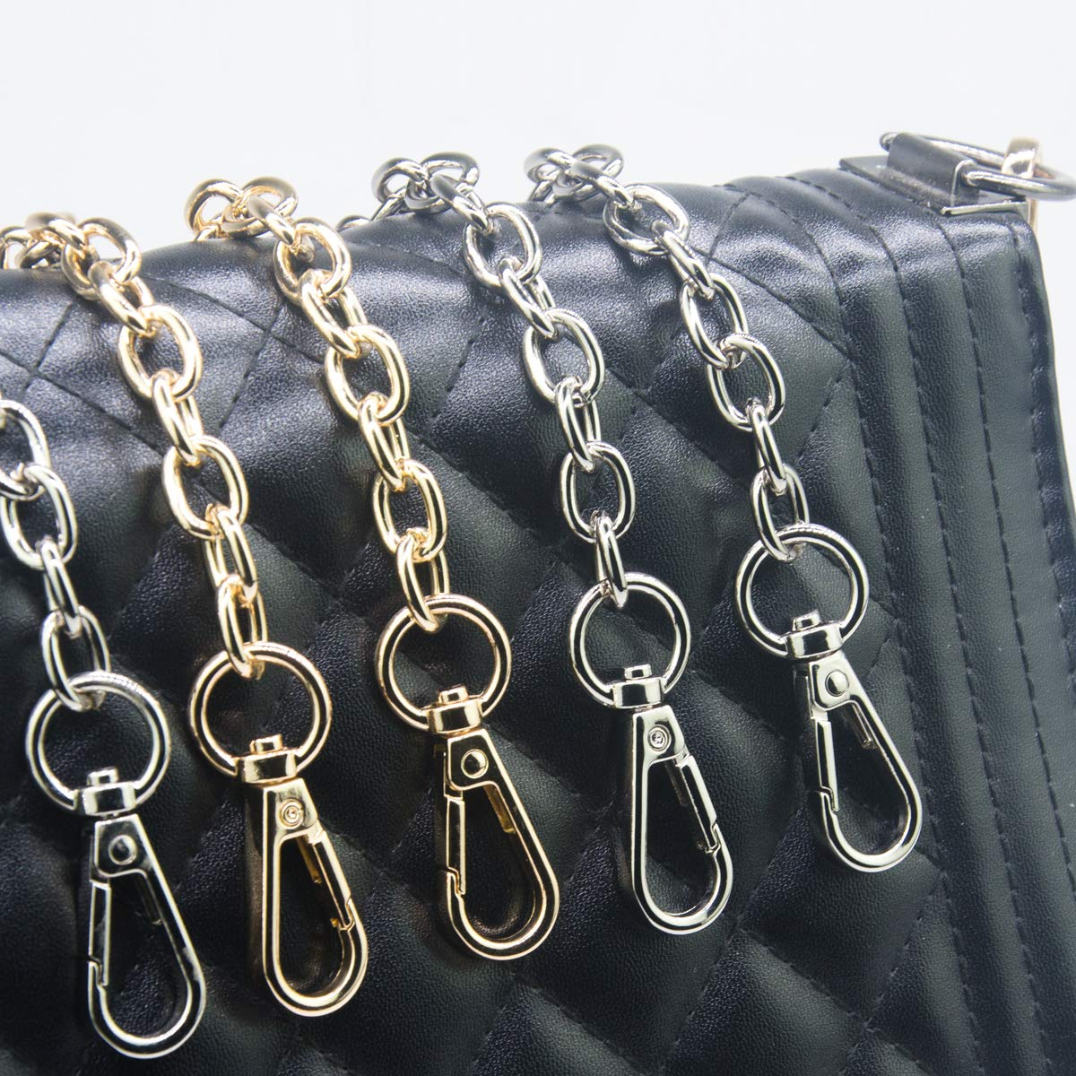 Chains Accessories Clutches Handles 2-Pack 23.6 Long Replacement Straps for Purses or Handbag Silver SUPXINJIA Handle Chain Strap